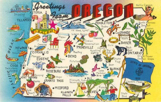 Oregon Greetings State Map Postcard
