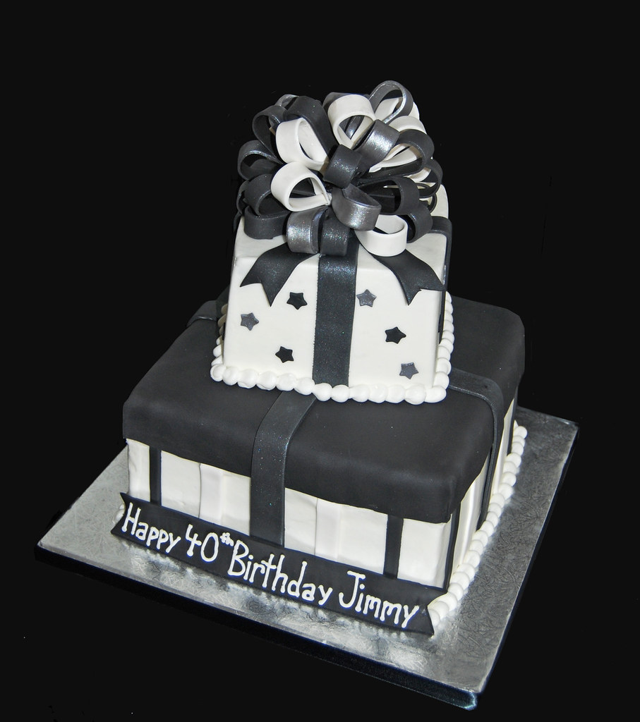 Prime 40Th Birthday Two Tier Package Cake Black White And Silver Flickr Personalised Birthday Cards Epsylily Jamesorg