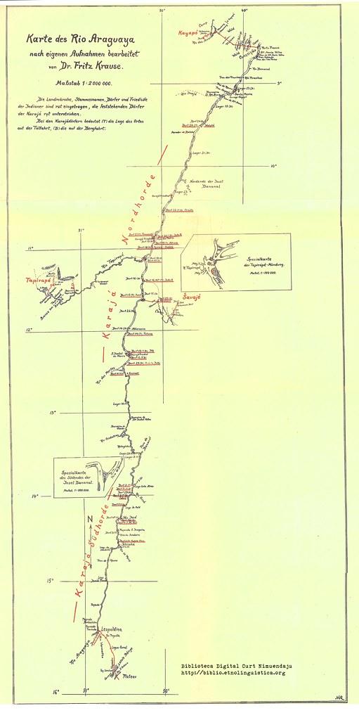 Karte des Rio Araguaya nach eigenen Aufnahmen bearbeitet (Krause 1911)