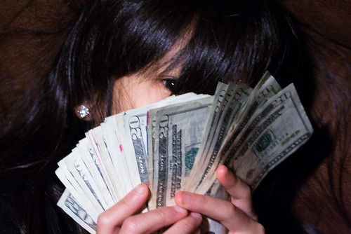 Girl Eye Peeking Out Behind Fan of $20 Bills Money Bankroll Girls February 08, 201114 | by stevendepolo