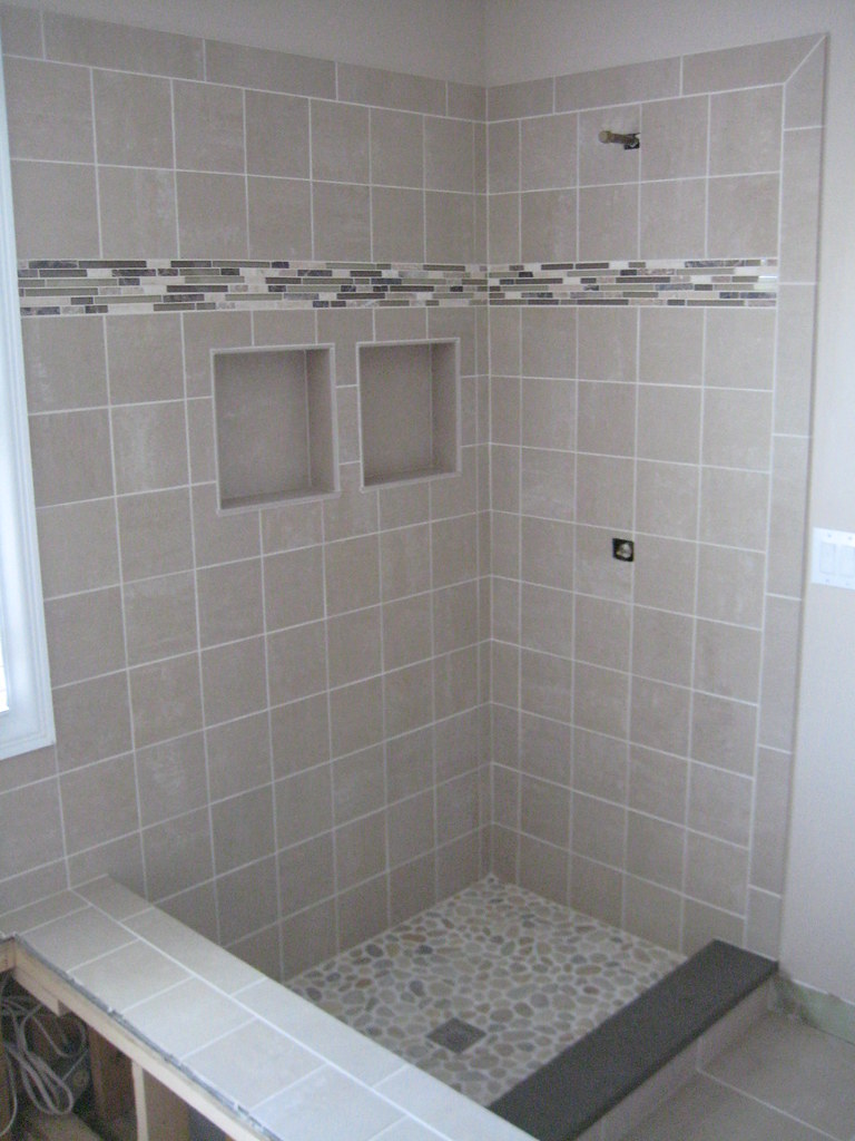 Custom shower pan and shampoo holders | The Tile Guys, Inc
