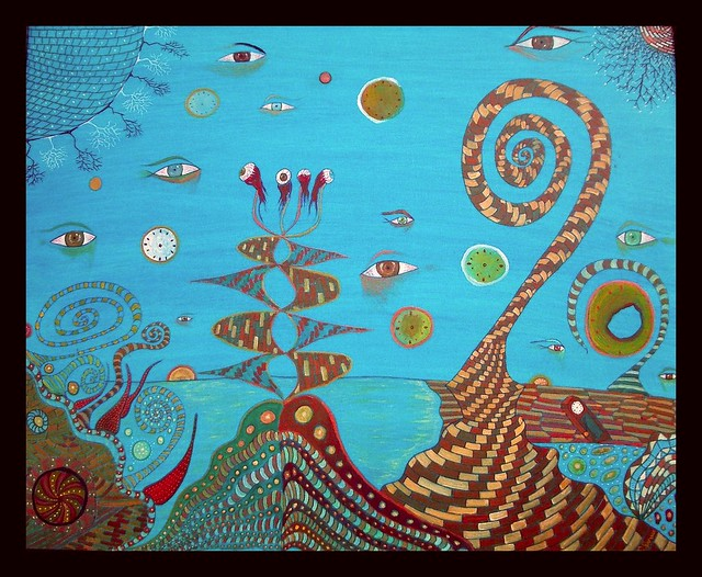 Time aquarium, Acrylic mix on canvas Visible in The Dark 80x100cm By Farshad Sanaee The Apple
