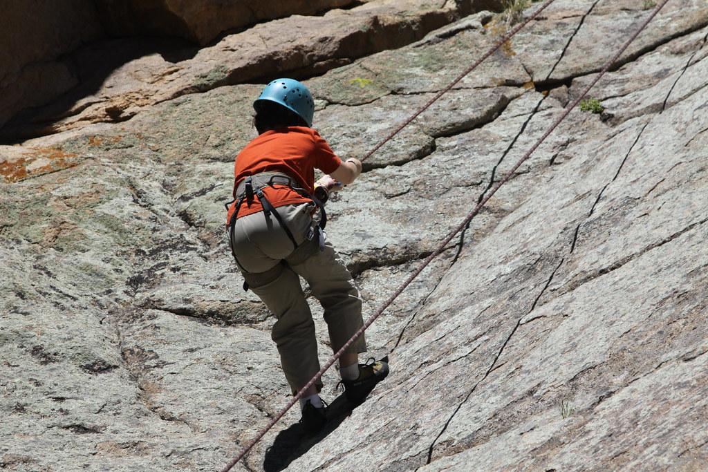 Gretchen coming back down | Rock Climbing on Belay Rock