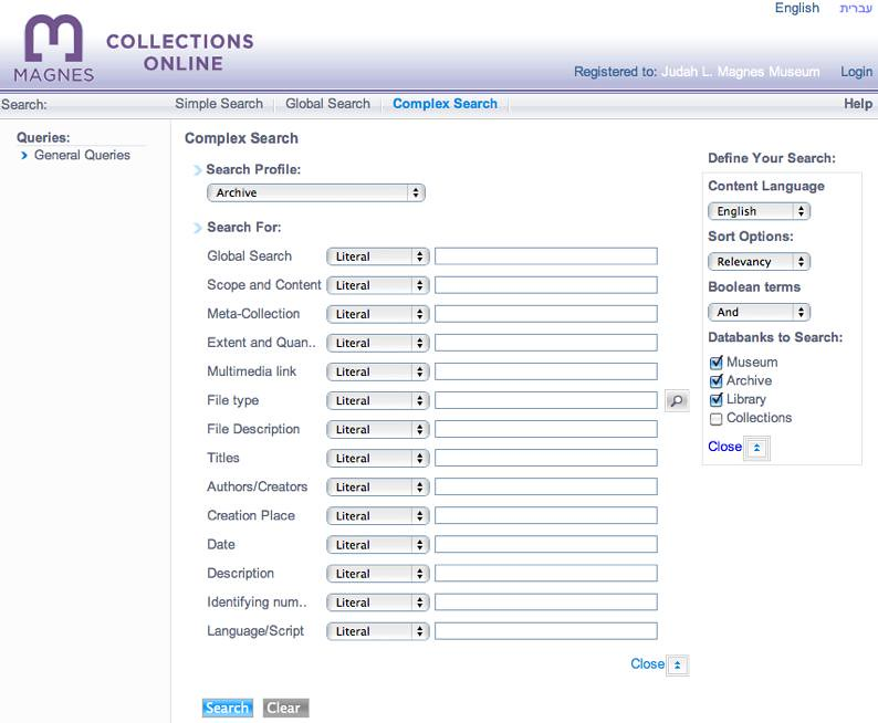 Magnes Online Database Web Interface: Complex Search over