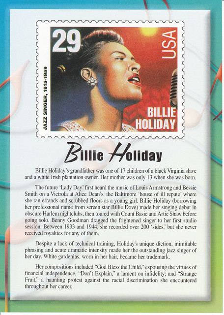 USPS Legends of American Music Billie Holiday Postcard