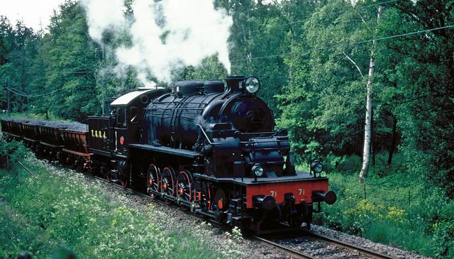 TGOJ M3t Stoomlocomotief Nr. 71 in Stockholm, 1981.