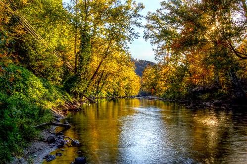 sunset mountain fall stream north carolina trout hdr dillsboro sylva