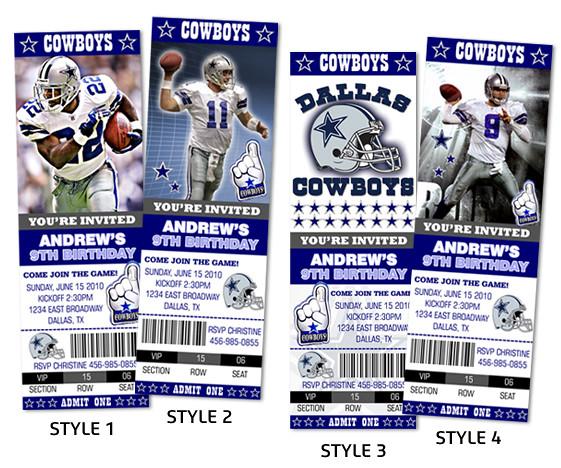 Dallas Cowboys Football Ticket Style Custom Birthday Invi for cheap