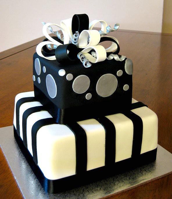 Black Silver Present 30th Birthday Cake