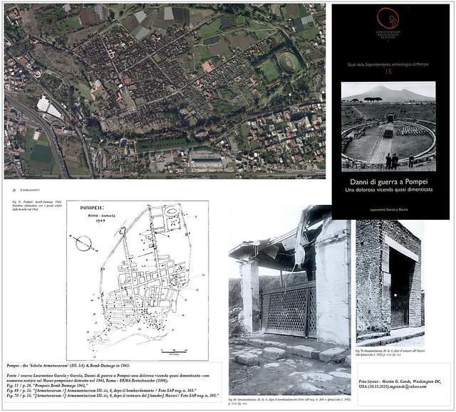 Pompei - Bomb Damage in 1943 the 'Schola Armaturarum' (III. 3.6) in 1943; & Prof. Amedeo Maiuri - War Damage (Oct.7th, 1943).