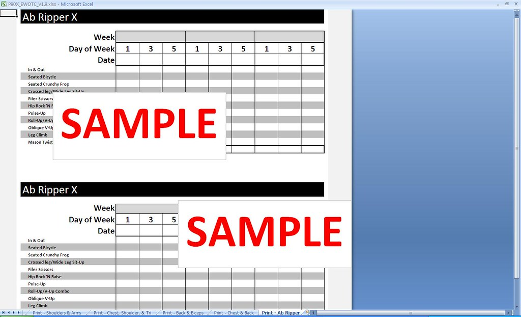 P90x Ab Ripper X Print Sheet Get This And Other Great Tool Flickr