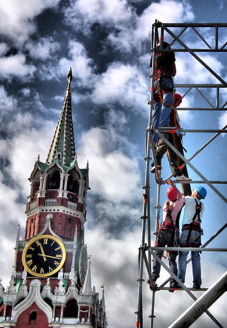 GETTING READY FOR MOSCOW BIRTHDAY. RED SQUARE, MOSCOW, RUSSIA