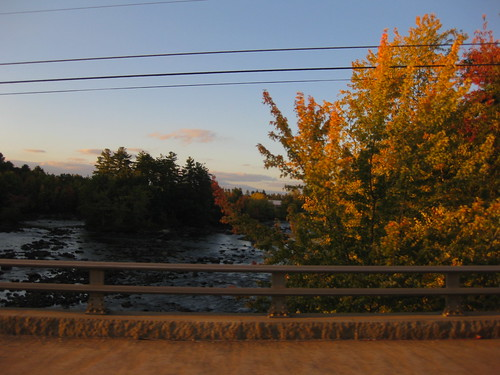 bridge sunset fall nature rocks maine saco limington