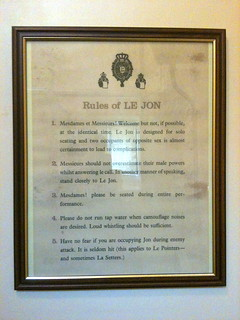 Toilet rules in the gentleman's lavatory in Bibury Court Hotel   by Tip Tours