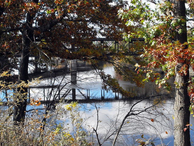 Wisconsin Dells Bridge Reflection In The Wisconsin River.
