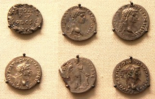 Suffolk forger's hoard of plated coins, detail of 6 coins various types of the emperor Claudius | by Ahala