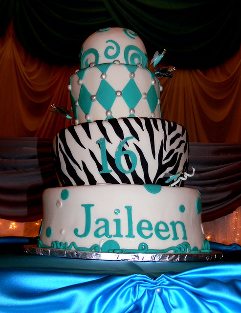 Tiger Striped Quinceanera Sweet 16 Cake