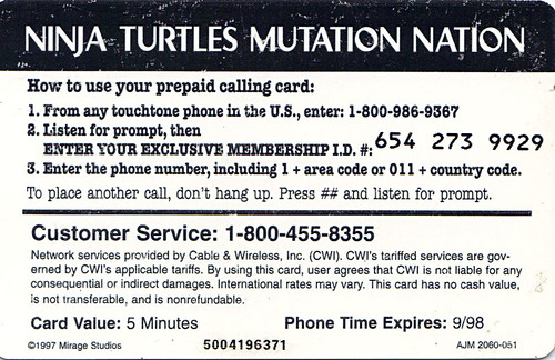 NINJA TURTLES: THE NEXT MUTATION  :: 'MUTATION NATION' Official Membership Card / Phone Card ii (( 1997 )) by tOkKa