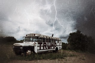 Lightning strikes Trump bus...fake news? | by Lorie Shaull