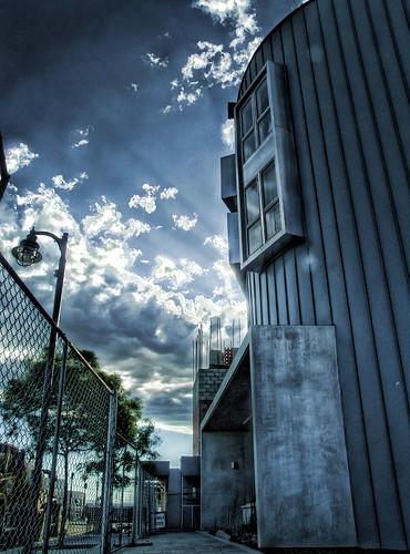 blue sunset sky clouds construction downtown lancaster blvd artistslofts