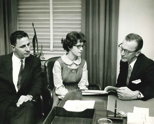 STS 1961 Finalist Mary Sue Williams Coleman at the National Institute of Dental Research with Drs. Seymour Kreshover and Francis Arnold