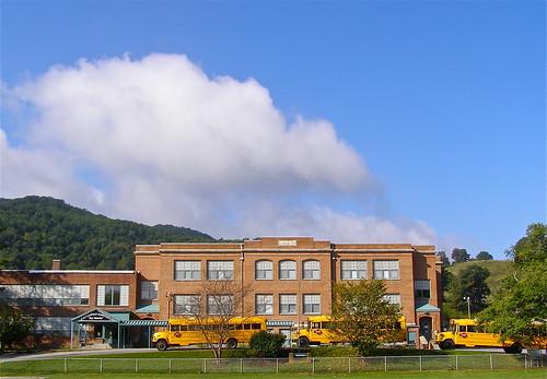 school sky mountains brick history clouds geotagged nc highschool learning teaching schoolbus elementary yellowschoolbus barnardsville buncombecounty melystu ncpedia
