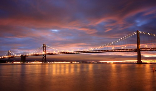 sf sanfrancisco california ca city longexposure morning bridge blue light usa clouds america sunrise dawn lights early twilight burn hour baybridge