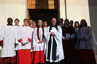 Rector and choir at Thanksgiving Service in April 2010 to mark completion of exterior restoration | by peppercanister