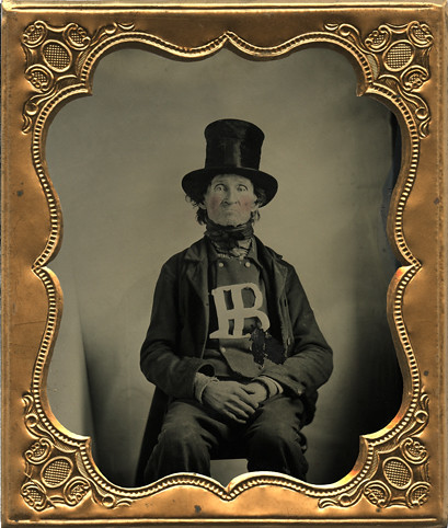 Tintype of Odd Man Wearing Top Hat and Displaying Initials