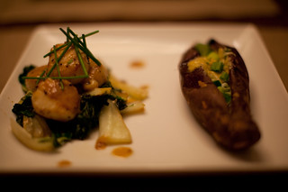 Scallops with Sesame Bok Choy and Sweet Potato with Miso Scallion Butter | by phy5ics