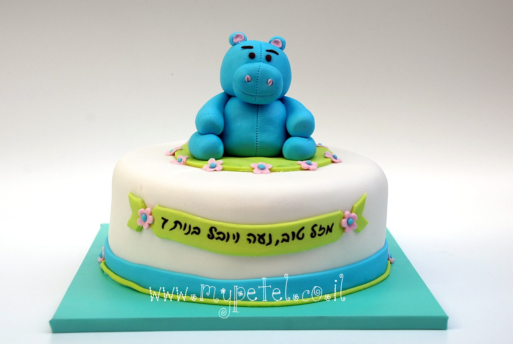 Incredible Hippo Cake Vgt Hifv Hippo Cake For A 7Th Birthday Th Flickr Personalised Birthday Cards Akebfashionlily Jamesorg