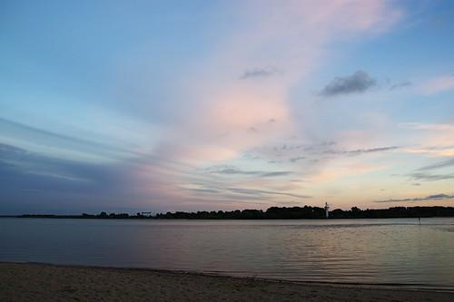 pink blue sunset river sonnenuntergang rosa blau fluss elbe