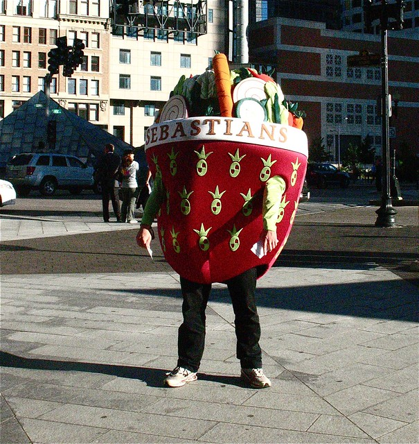 boston downtown crossing man dressed as salad