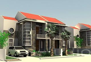 rumah di sebuah perumahan dengan gaya modern   rumah ini