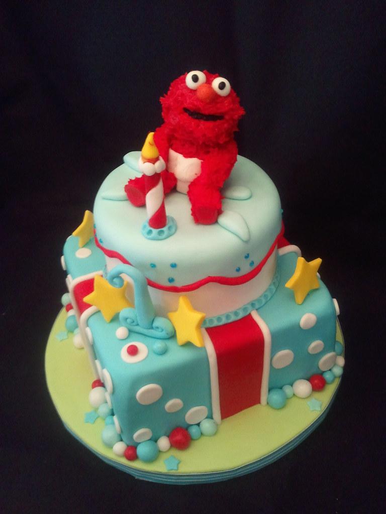 Magnificent Elmo Birthday Cake Elmo 1St Birthday Cake Frosted With Personalised Birthday Cards Veneteletsinfo
