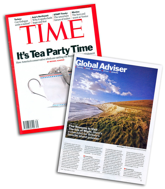 In print, Time Magazine. Global adviser - Five Reasons to Visit The Isle of Wight.