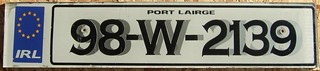 IRELAND, WATERFORD CITY 1998 ---LICENSEPLATE WITH SHADOW FONTS