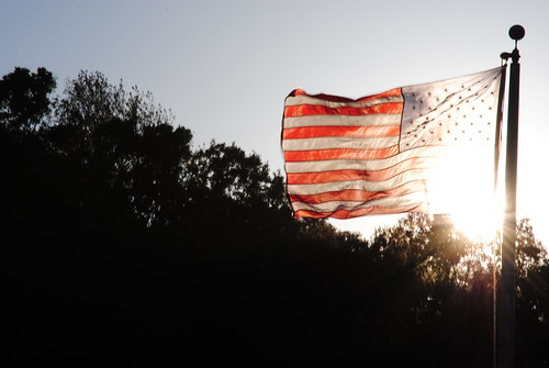 sunset flag picture canadian american epic