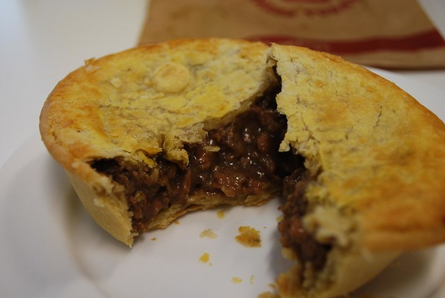 Steak and Onion Pie - insides - Brumby's Bakery QV AUD3.50 after 3.30pm