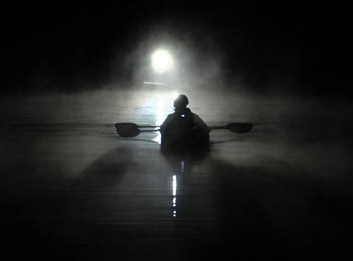 light water silhouette fog night creek river kayak tennessee paddle vanburen