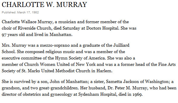 Charlotte Wallace Murray Dies - March 17, 1982