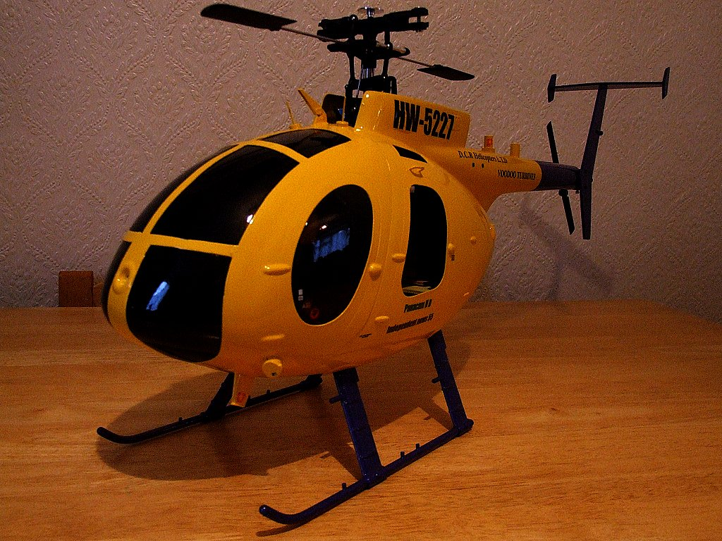 Trex 450 clone with Align Hughes 500D fuselage   Painted and