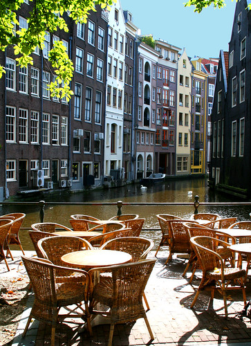 Amsterdam canal cafe seats | by Andrea Kennard