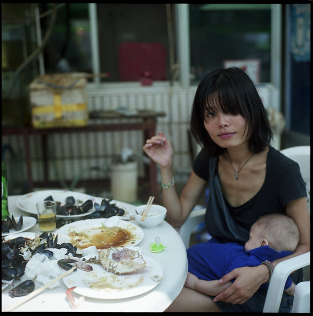 mother son mussel crab
