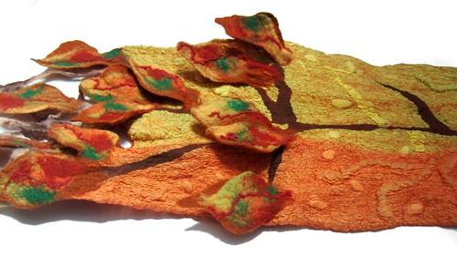 Nuno felted scarf Autumn leaves   by GalaFilc