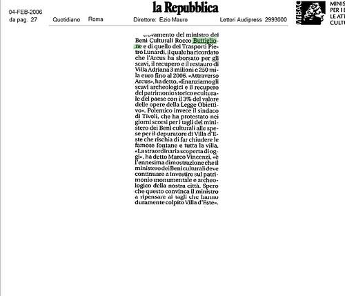 Roma - Straordinario rinvenimento archeologico all'interno di Villa Adriana a Tivoli. La Repubblica (04/02/2006), p. 27 & Foto di: La Repubblica & MiBAC. [2/2].