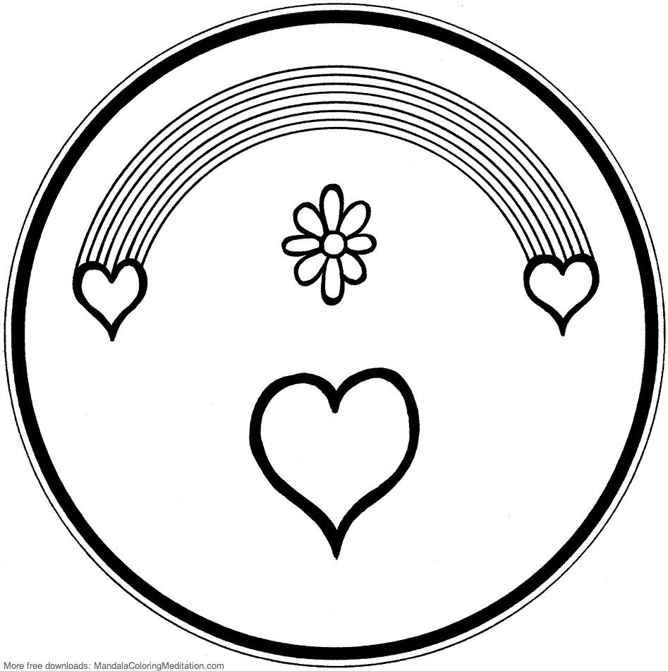 Printable children coloring page: rainbow heart mandala ...
