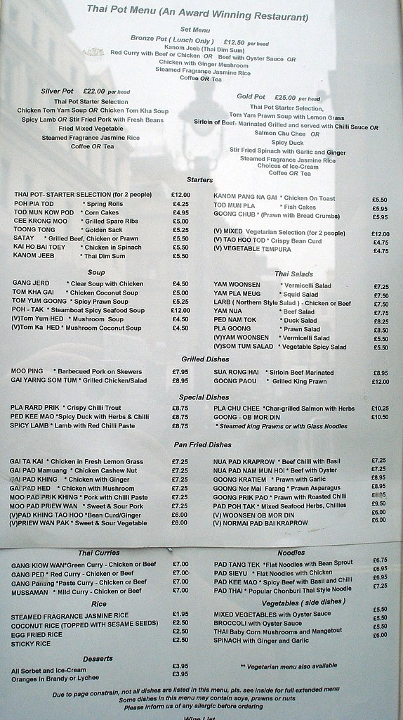 Menu At Thai Pot Covent Garden London Wc2 Links See The Flickr