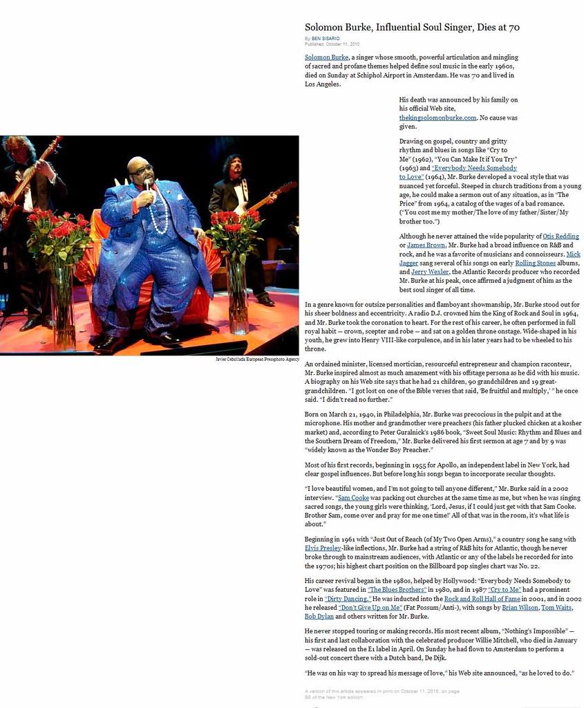 Soloman Burke, Gospel and Soul Singer, Dies - October, 201