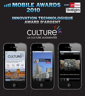 CultureClic, Mobile Awards d'Argent 2010 de l'innovation technologique de l'année